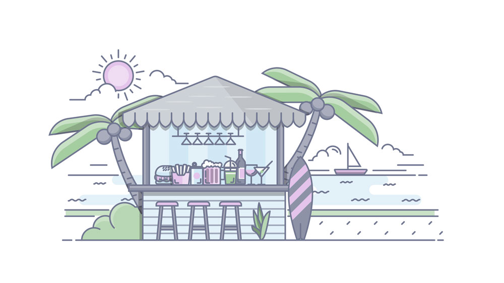 A cartoon illustration of a bar on the beach